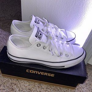 White leather low top converse
